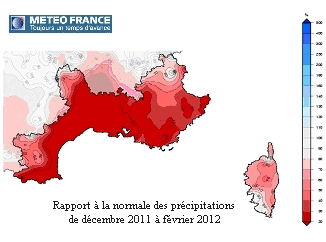 Répartition précipitations zone Sud dec2011-fev2012 (METEO FRANCE DIRSE)